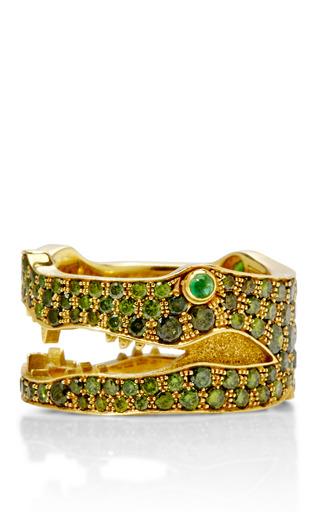 Medium marc alary gold 18k yellow gold and green diamond crocodile ring