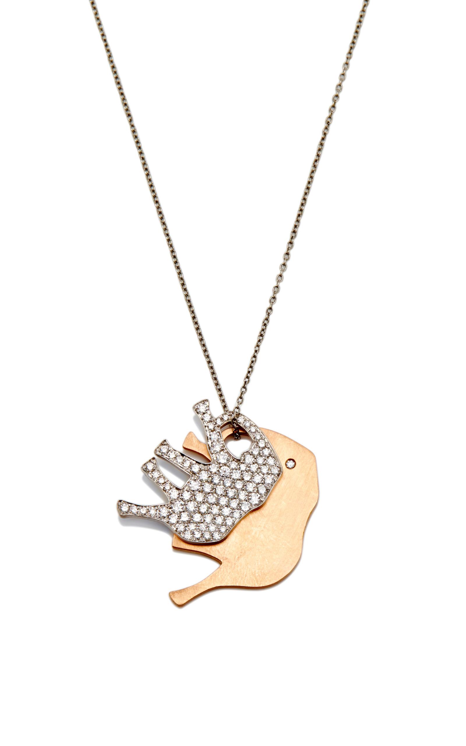 18k white gold pave elephant and 18k rose gold elephant pendants on elephant pendants on 18k white gold chain close loading aloadofball Choice Image