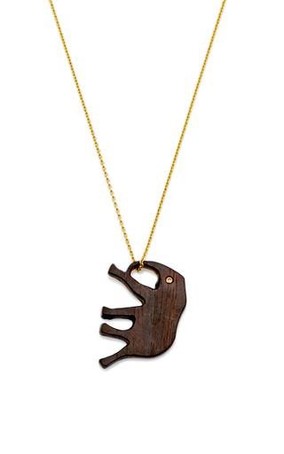 Medium marc alary gold wood and 18k yellow gold elephant pendant
