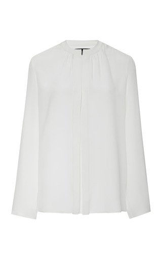 Nehru Collar Silk Blouse by DEREK LAM Now Available on Moda Operandi