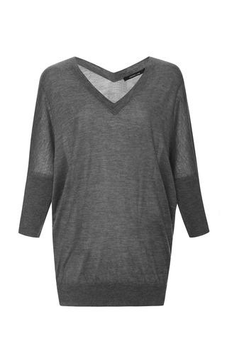 Medium derek lam dark grey silk and cashmere batwing sweater