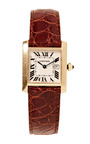 "Cartier 18 K Yellow Gold ""Tank Francaise"" Wristwatch With Date And Brown Crocodile Strap From Camilla Dietz Bergeron by CAMILLA DIETZ BERGERON, LTD. for Preorder on Moda Operandi"