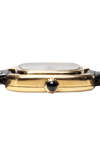 "Cartier 18 K Yellow Gold  ""Square Ellipse"" Mechanical Wristwatch With Black Lizard Strap From Camilla Dietz Bergeron by CAMILLA DIETZ BERGERON, LTD. for Preorder on Moda Operandi"