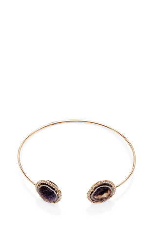 One Of A Kind Blue Geode And Diamond Wire Cuff by KIMBERLY MCDONALD for Preorder on Moda Operandi