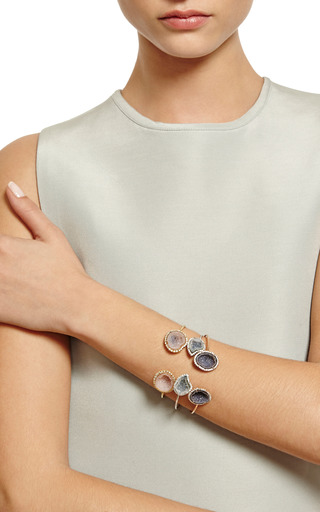 One Of A Kind Light Blue Geode And Diamond Wire Cuff by KIMBERLY MCDONALD for Preorder on Moda Operandi