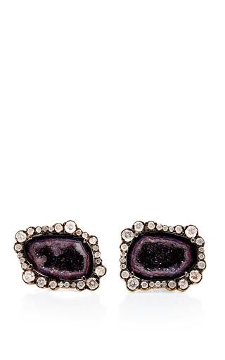 Medium kimberly mcdonald purple one of a kind purple geode and irregular diamond stud earrings