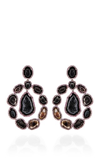 Medium kimberly mcdonald pink one of a kind dark geode and pink sapphire lever back earrings
