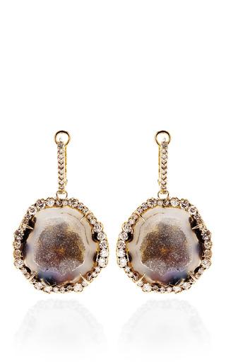 Medium kimberly mcdonald multi one of a kind geode and irregular diamond lever back earrings
