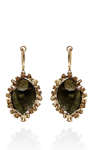 One Of A Kind Dark Green Geode, Natural Brown And Green Diamond Lever Back Earrings by KIMBERLY MCDONALD for Preorder on Moda Operandi