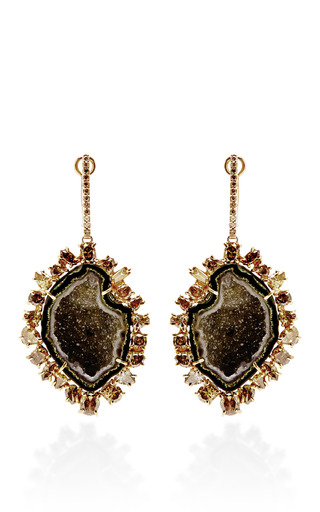Medium kimberly mcdonald green one of a kind dark green geode natural brown and green diamond lever back earrings