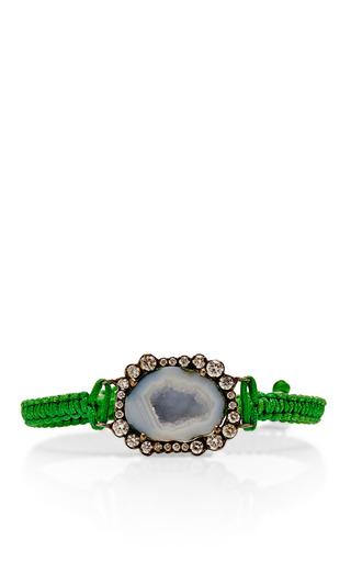 Medium kimberly mcdonald green one of a kind light geode and irregular diamond on kelly green macrame bracelet