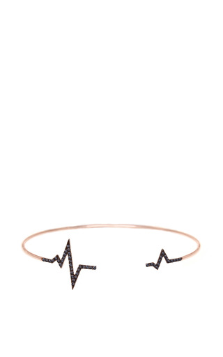 Black Diamond Heartbeat Bangle In 18 K Rose Gold And Diamond by DIANE KORDAS for Preorder on Moda Operandi