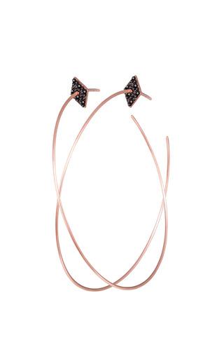 Medium diane kordas black diamond shape hoop earrings in 18k rose gold and diamond
