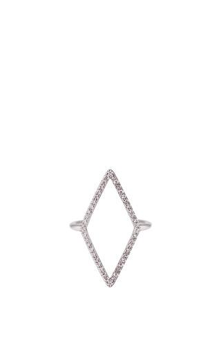 Medium diane kordas white diamond shape ring in 18k white gold and diamond