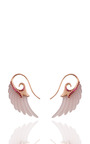 M'o Exclusive: Wing Earrings With Rose Agate, Rubies And Rose Gold by NOOR FARES for Preorder on Moda Operandi