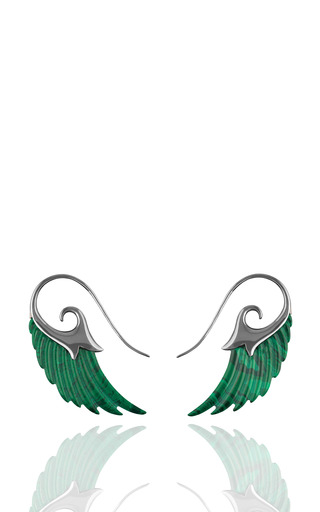 Medium noor fares green wings earrings with malachite and black rhodium silver