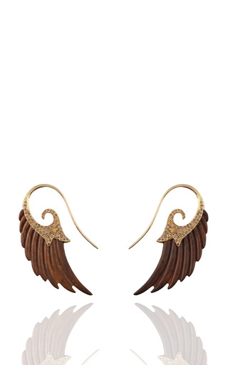 Medium noor fares brown wing earrings in poplar wood with yellow gold and brown diamonds