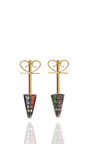 Cone Stud Earrings 18 K Yellow Gold And Multi Stones by NOOR FARES for Preorder on Moda Operandi