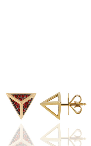 Tetrahedron Stud Earrings In 18 K Gold And Rubies by NOOR FARES for Preorder on Moda Operandi