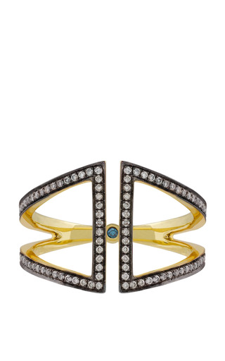 Medium noor fares gold open rhombus ring in yellow blackened gold and white diamonds