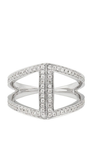 Medium noor fares silver rhombus pinkie ring in white gold and white diamonds