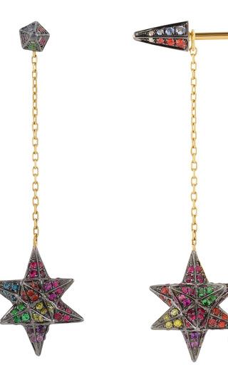 Merkaba Double Dress Earrings In 18 K Yellow Gold And Multi Stones by NOOR FARES for Preorder on Moda Operandi