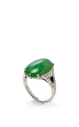 Medium fd gallery green vintage art deco jade onyx and diamond ring by hm beattie sons
