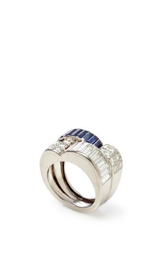 Medium fd gallery blue vintage art deco sapphire and diamond ring 2