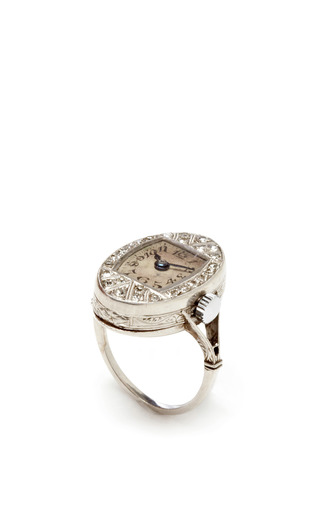Medium fd gallery white vintage edwardian diamond and platinum watch ring