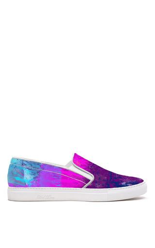 Medium del toro purple mo exclusive purple watercolor tie dye printed canvas slip on sneaker with white sole