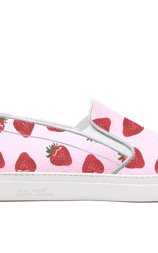 M'o Exclusive: Strawberry Printed Canvas Slip On Sneaker With White Sole by DEL TORO for Preorder on Moda Operandi
