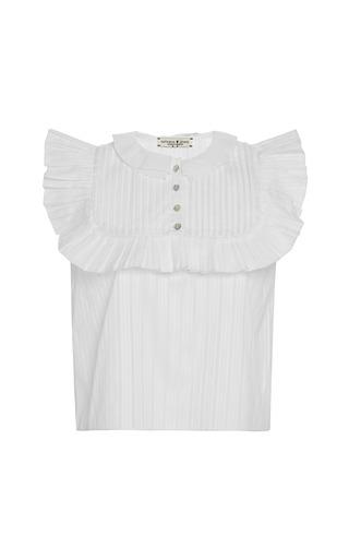 Medium natasha zinko white pleated plastron blouse