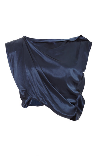 Medium ellery blue mo exclusive buttercup crop top in navy satin