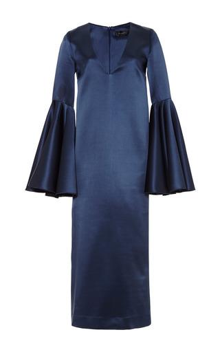 Medium ellery blue mayfair deep v neck dress with bell sleeve