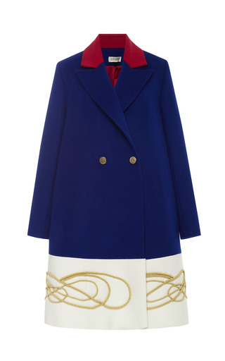 Medium a la russe blue tricolour coat with gold cord