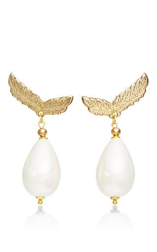 Medium masterpeace white laurel leaf drop earrings with mother of pearl