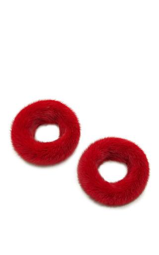 Red Mink Fur Cuffs by ESME VIE for Preorder on Moda Operandi