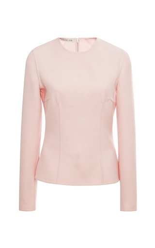Cherry Blossom Pink Tailored Maxi Blouse by ESME VIE for Preorder on Moda Operandi