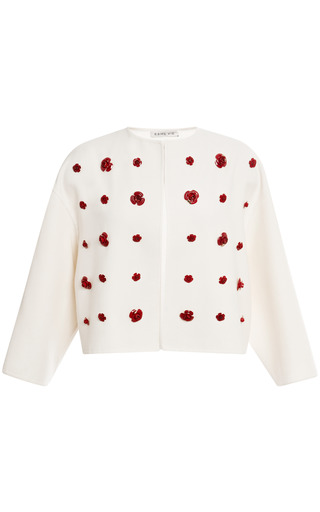 Medium esme vie white rose embellished wrap jacket