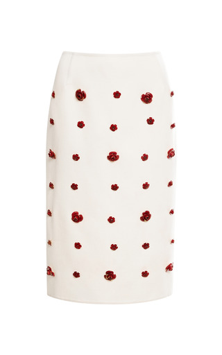 Medium esme vie white rose embellished midi pencil skirt