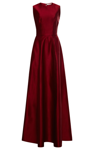 Medium esme vie red bordeaux satin full skirt maxi dress