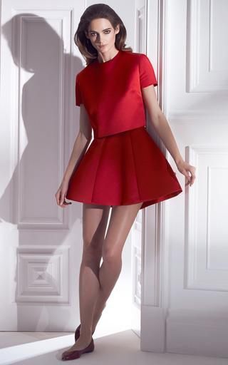 Persian Red Panel Gore Mini Skirt by ESME VIE for Preorder on Moda Operandi