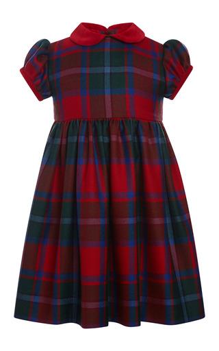 Medium oscar de la renta navy baby plaid wool gathered sleeve dress