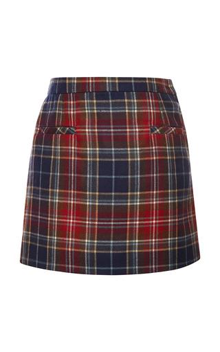 Medium oscar de la renta navy plaid wool a line skirt