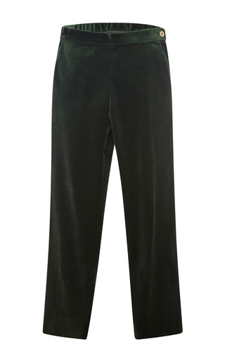 Medium oscar de la renta green stretch velvet trousers