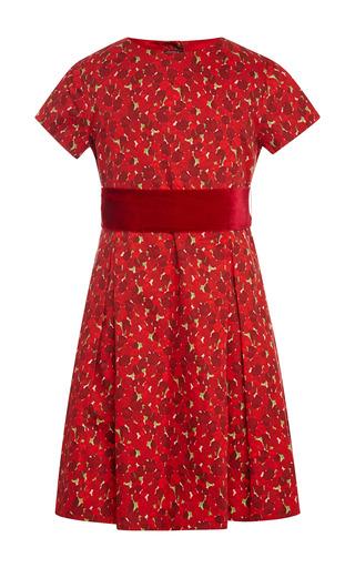 Medium oscar de la renta red tulip cotton dress with pleated skirt