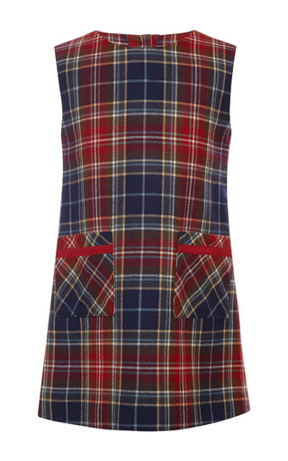 Medium oscar de la renta navy plaid wool a line pocket dress