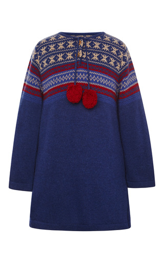 Medium oscar de la renta blue jacquard wool sweater dress
