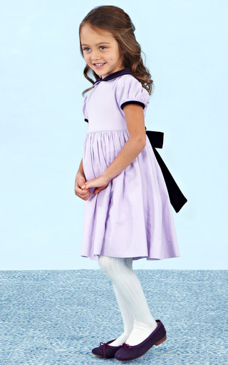 Cotton Gathered Sleeve Dress With Velvet by OSCAR DE LA RENTA for Preorder on Moda Operandi