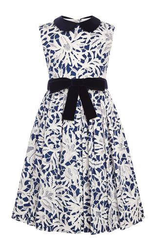 Medium oscar de la renta navy lace print cotton party dress